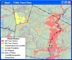 Sample map of Flood Plain data for use with Maptitude and TransCAD map software