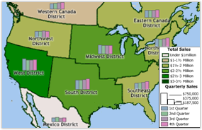 Map of Sales Territories with Chart Theme