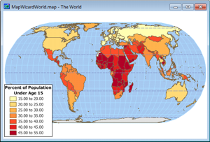 Sample world map from Maptitude global map software
