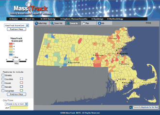MassTrack web site developed by Caliper for MHTC