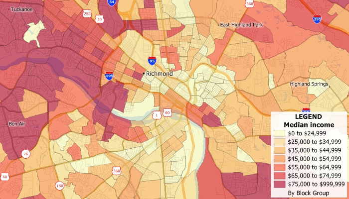 Sample Maptitude map of median income by Census Block