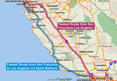 Map showing fastest route between San Francisco and Los Angeles