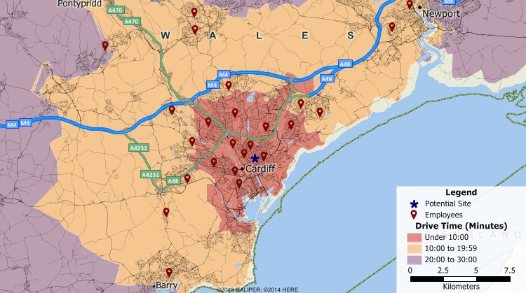 Maptitude GIS map of 10-minute drive time rings to a site in Cardiff, United Kingdom