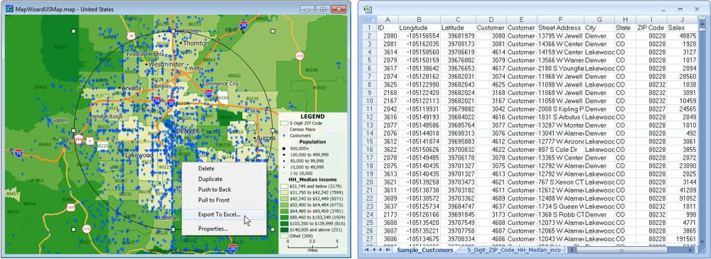 Export Maptitude map features directly to an Excel spreadsheet