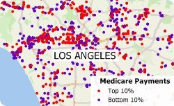 Maptitude map showing top and bottom medicare payments physicians