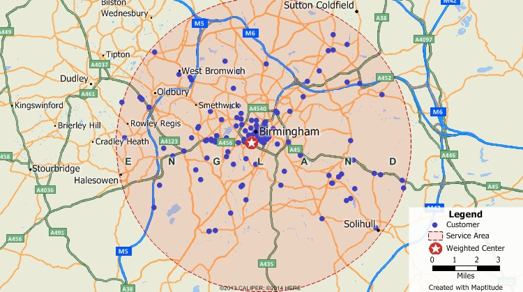 Maptitude GIS map of weighted center gravity location of customers in Birmingham, United Kingdom