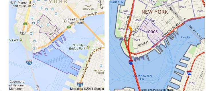 Maptitude vs. Google ZIP Code Comparison for 10005 in New York City