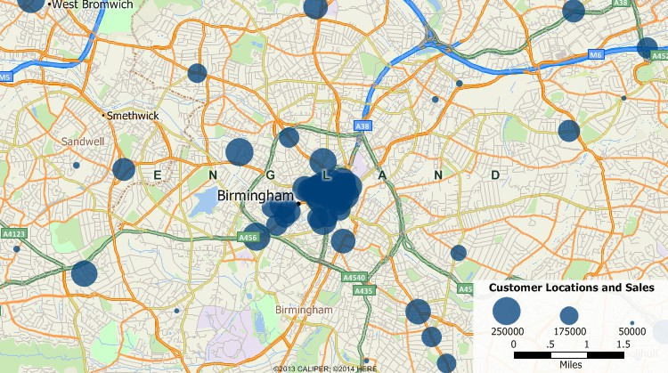 Sample Maptitude map of United Kingdom customers geocoded by address and scaled by sales volume