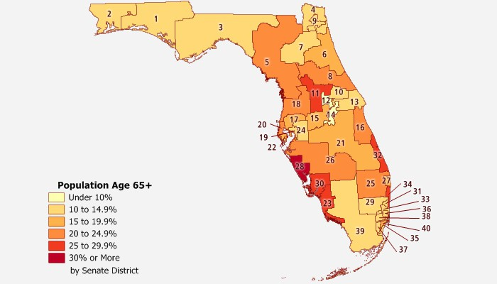 Sample Maptitude map senior population by Florida Senate District