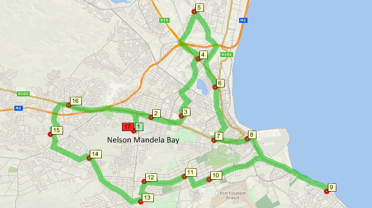 Maptitude GIS map of shortest path delivery route returning to origin in Nelson Mandela Bay, South Africa