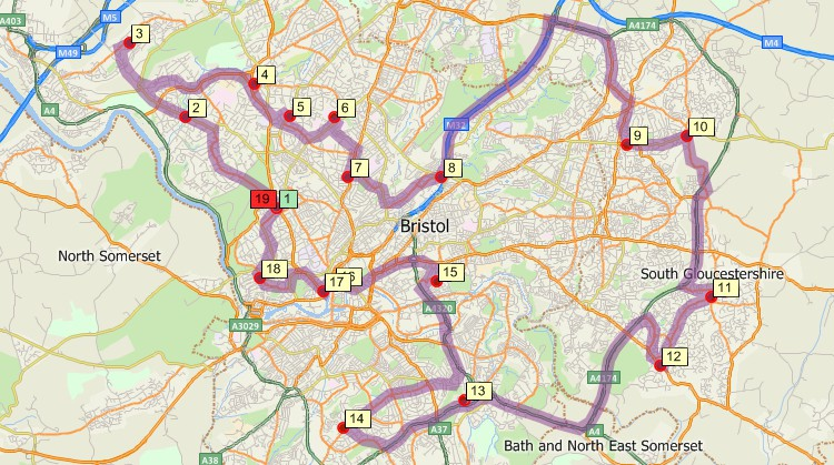 Maptitude GIS map of shortest path delivery route returning to origin in Bristol, United Kingdom