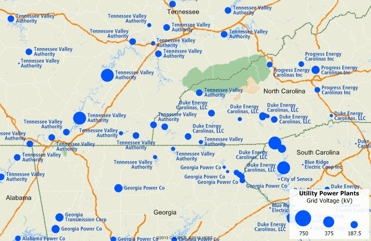 Maptitude map of electric utility plants in New York area