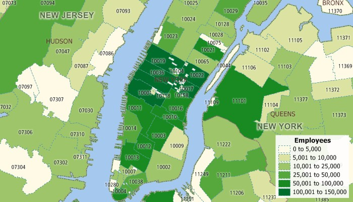 Map of ACS and ZBP ZIP Code data showing New York employment by ZIP Code