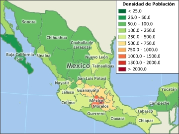 Mexico Population Density Map