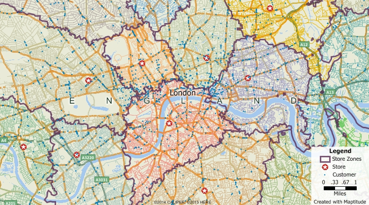 Maptitude GIS map of territories based on drive-time to nearest store in London, United Kingdom