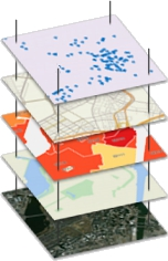 What is a GIS? Diagram illustrating how a GIS layers data