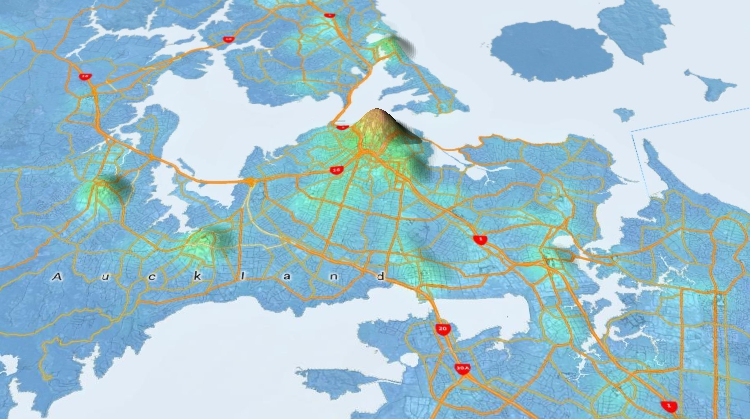FIGURE 4: 3D map software can show all sorts of data as elevations. In ...