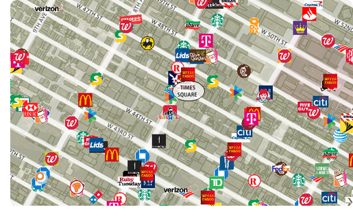 Maptitude business map of Times Square
