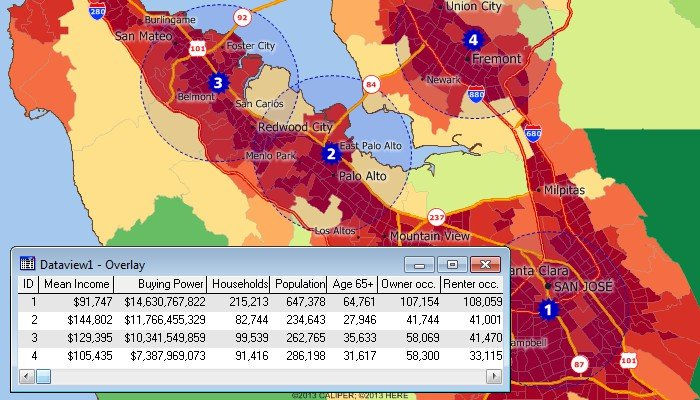Maptitude sales mapping software lets you analyze demographics, facility locations, and competitors