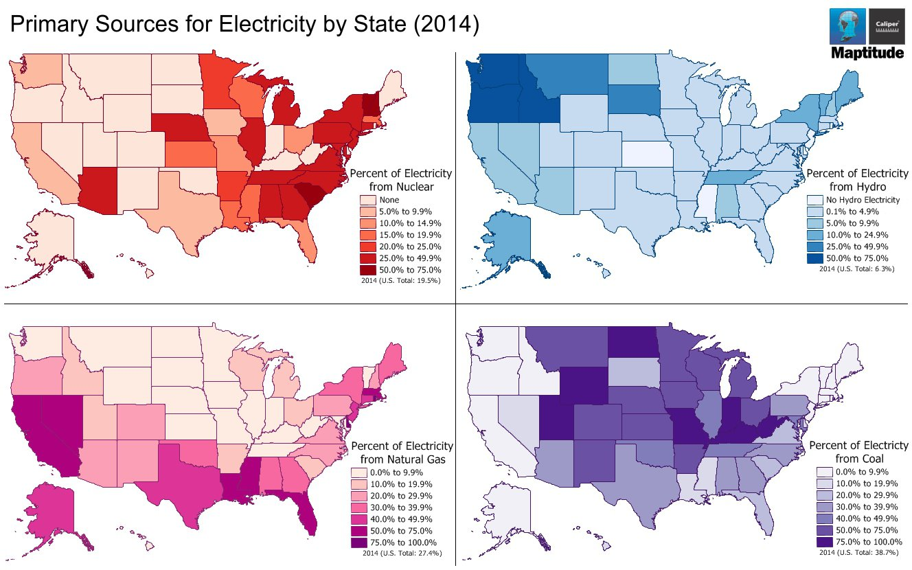 Electricity Source Maptitude Map