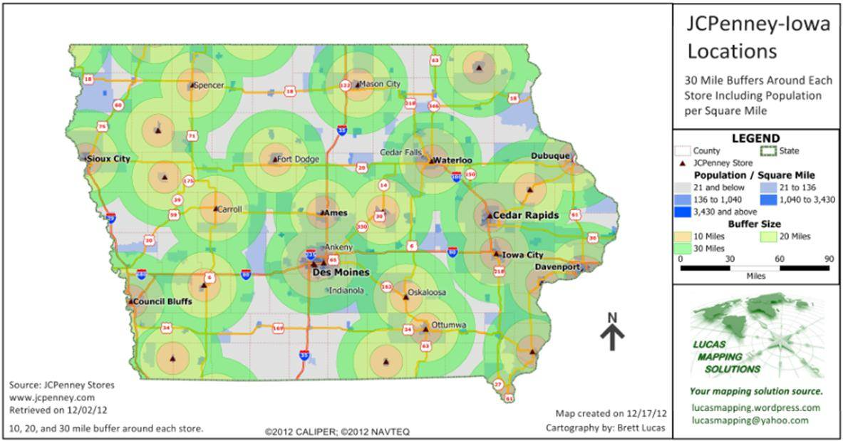 Iowa JC Penney Stores and Distance Rings Maptitude Map
