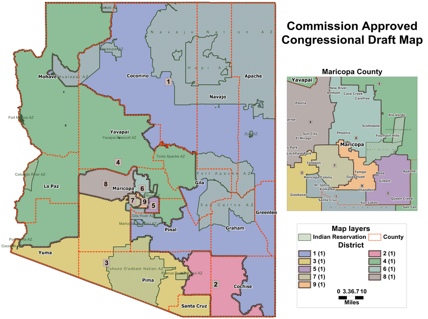 Draft Congressional Districts For Arizona