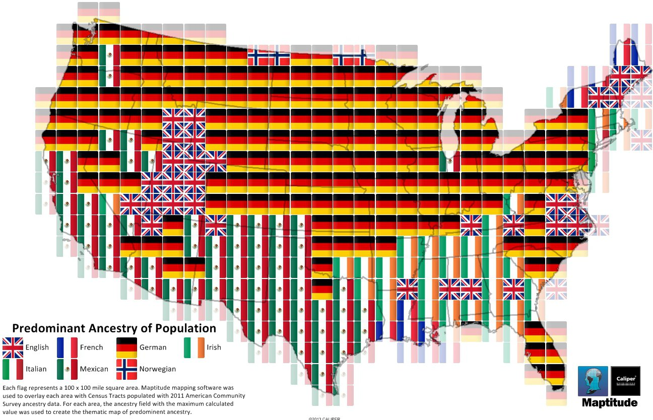 Maptitude Map Predominant US Regional Ancestry - Create us map infographic