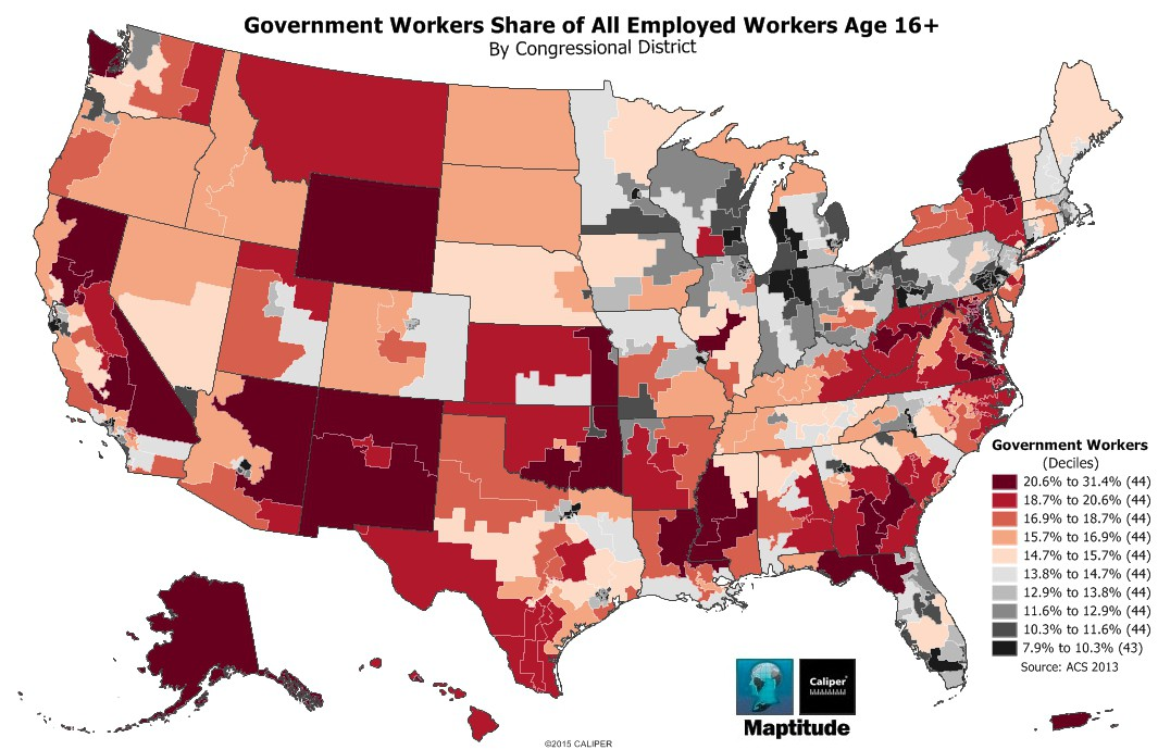 Map Of Share Of Government Workers By Congressional District