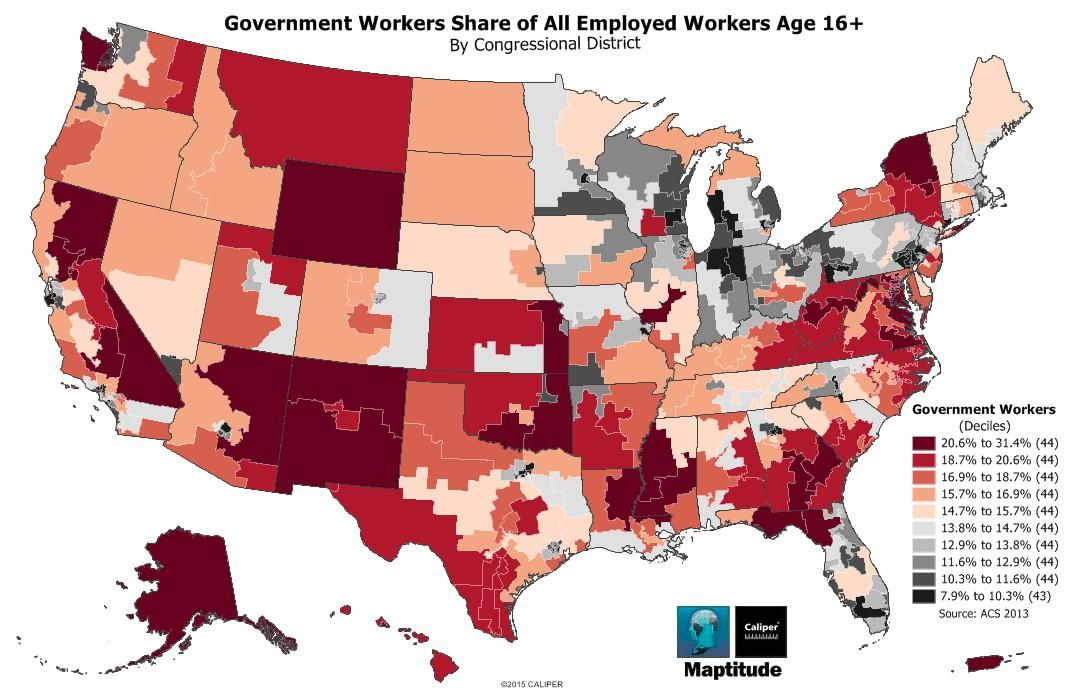 Public Sector Employment Maptitude Map