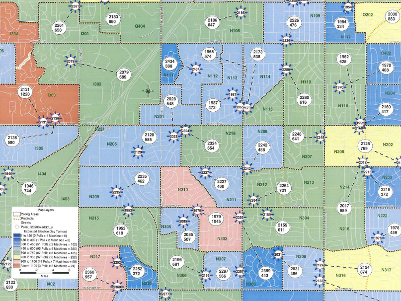 Polling Places and Expected Turnout Maptitude Map