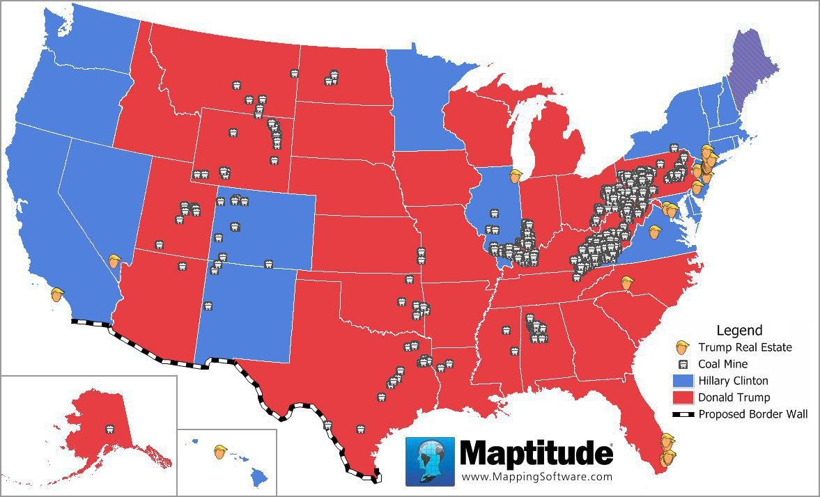 Maptitude map of 2016 election issues