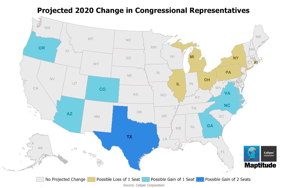 Maptitude Map  Reapportionment Projection - Congressional us map
