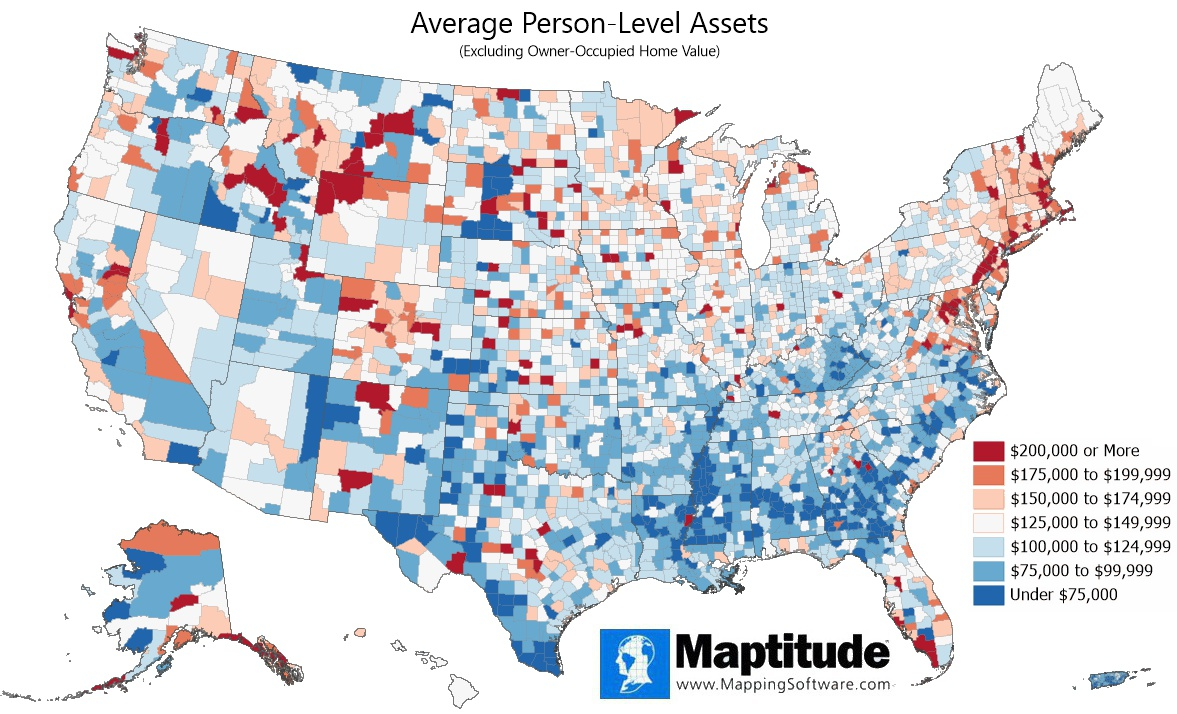Maptitude mapping software infographic of average per capita assets by county