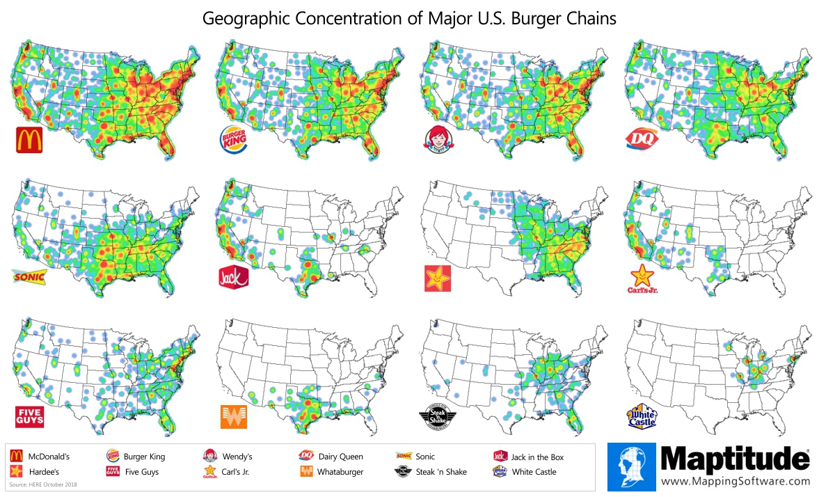 Maptitude mapping software map infographic of geographic concentration of top U.S. burger chain restaurants - Maptitude Infographic