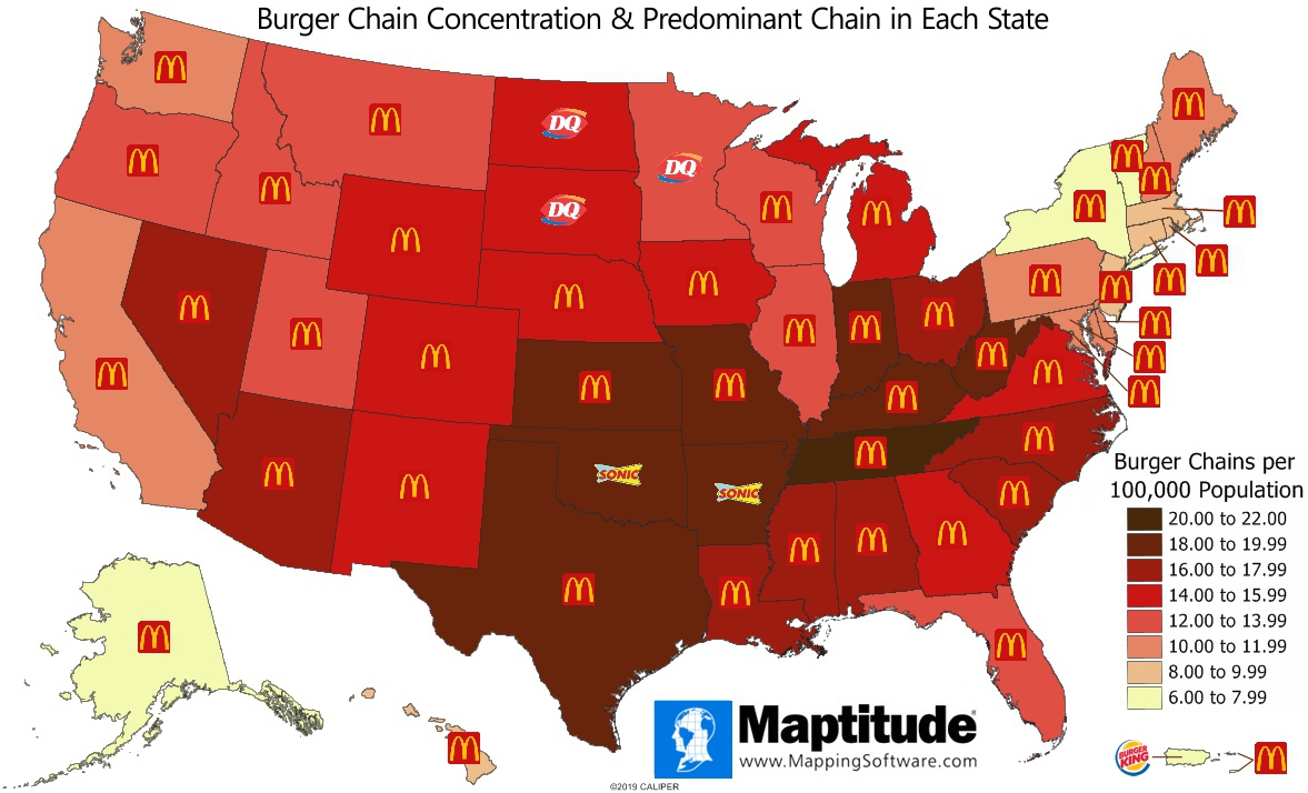 Maptitude mapping software map infographic of burger chain restaurants by U.S. state - Maptitude Infographic