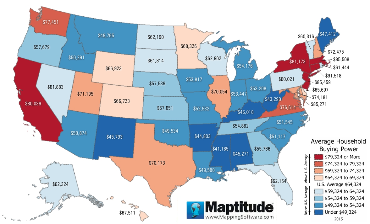 Maptitude mapping software map infographic of average household buying power by state