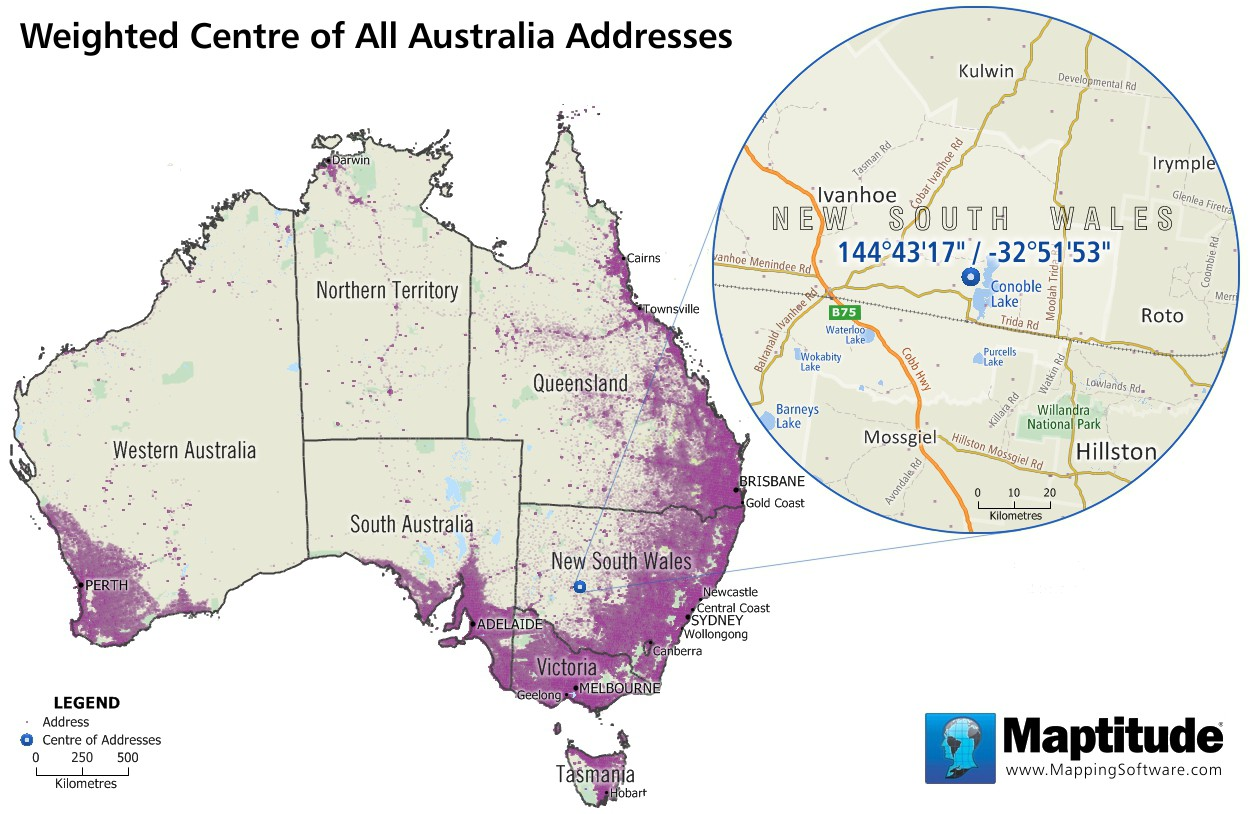 Maptitude map of weighted center of Australia addresses