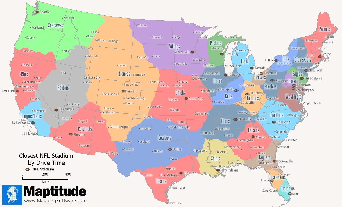 Maptitude mapping software infographic showing the closest NFL stadium by drive time