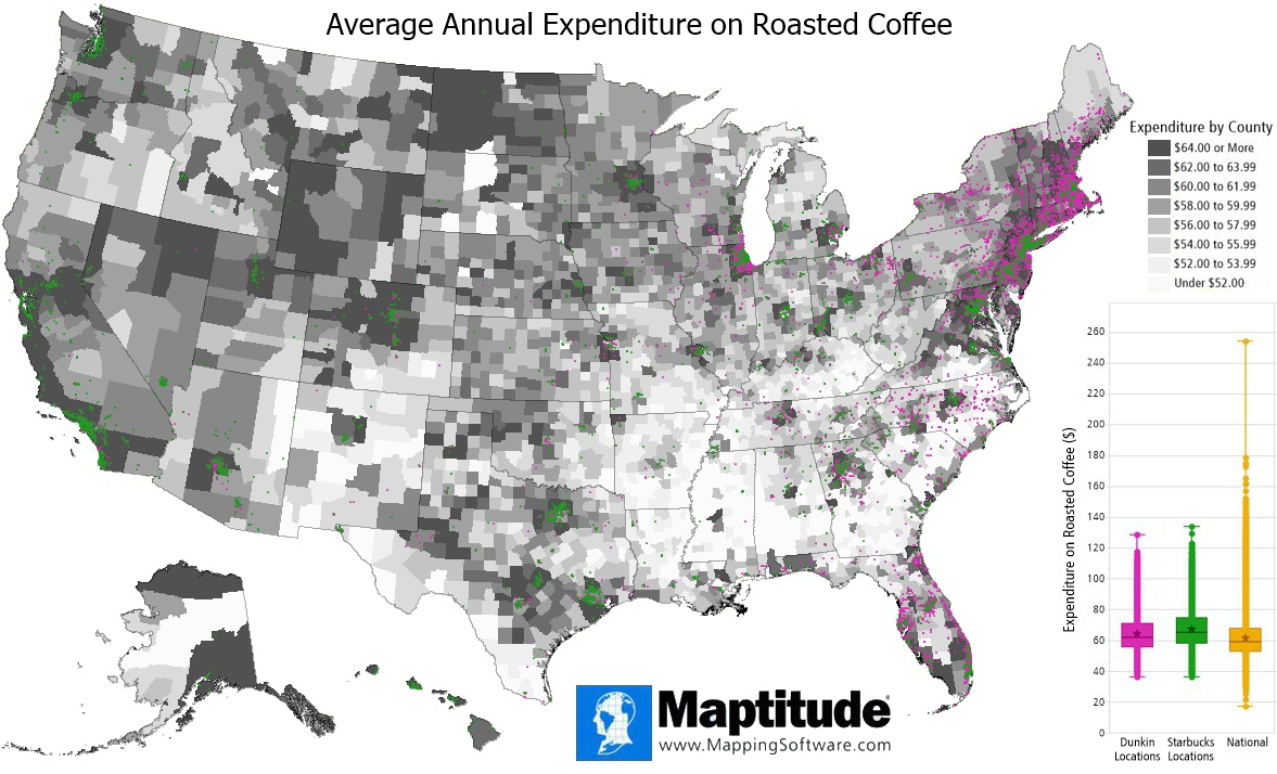 Maptitude mapping software map infographic of coffee expenditure and Dunkin/Starbucks chain comparison