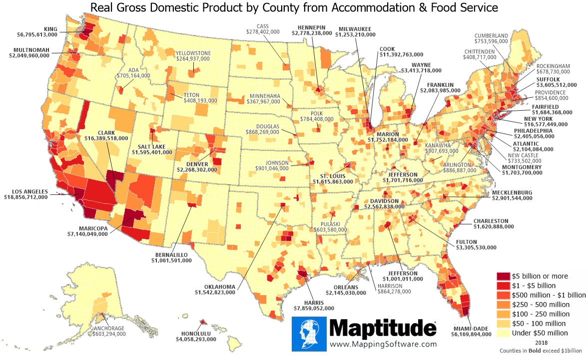 Maptitude mapping software infographic of annual county GDP from food services and accommodations