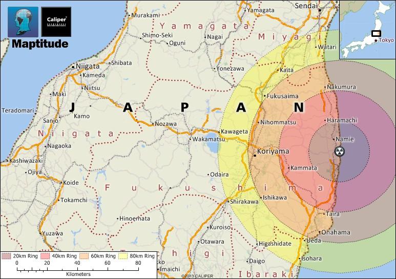 maptitude map fukushima evacuation area