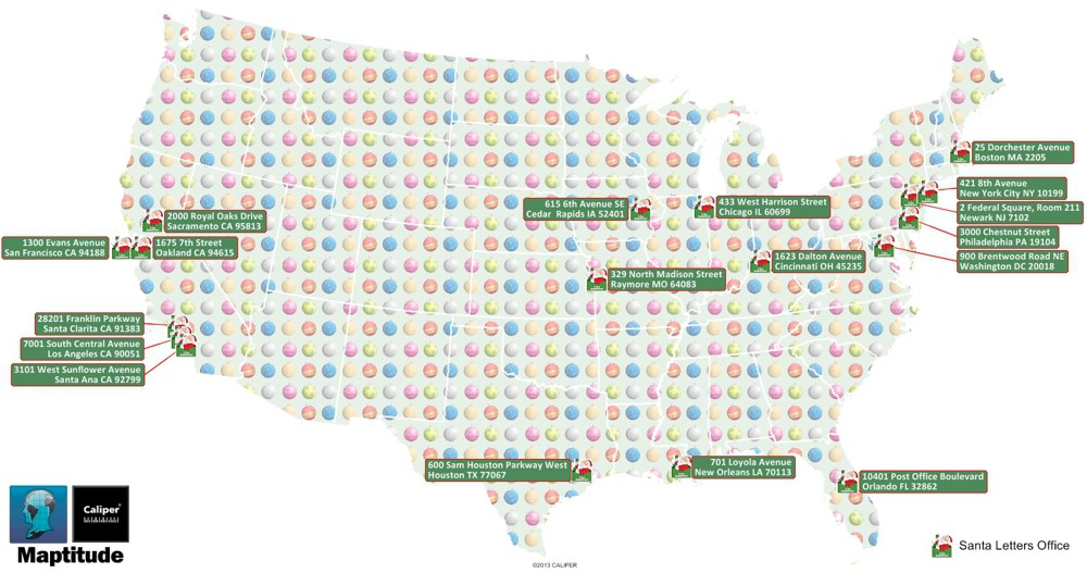 Letters to Santa Locations Maptitude Map