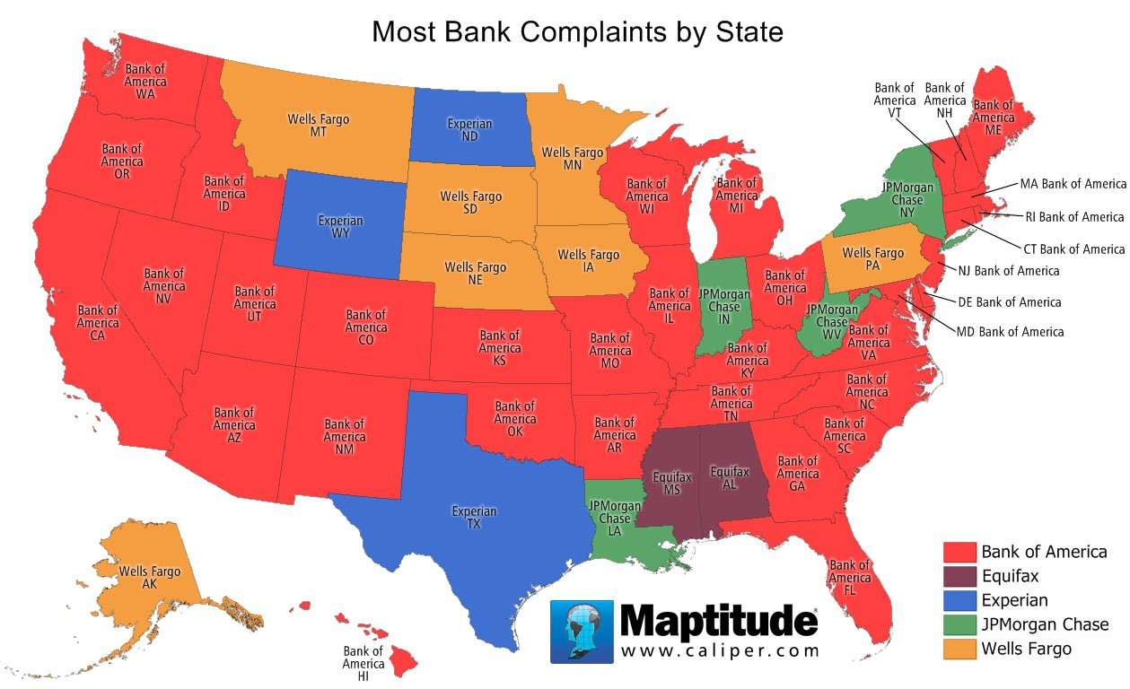 Maptitude map of bank complaints by state
