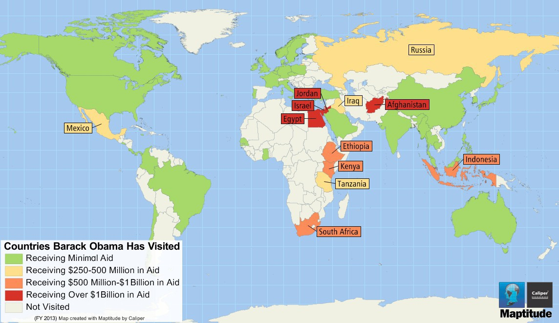 Maptitude Map Aid Received By Countries Obama Has Visited - Map-of-us-countries
