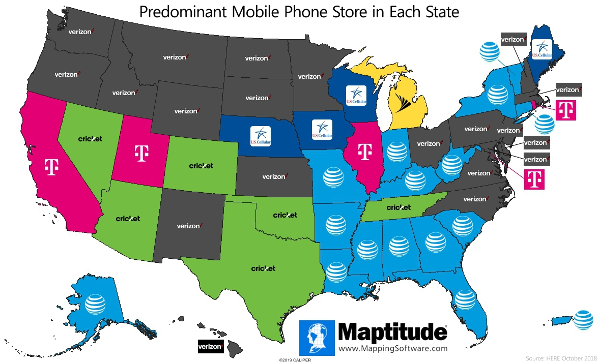Maptitude mapping software map infographic of wireless retailers by U.S. state - Maptitude Infographic