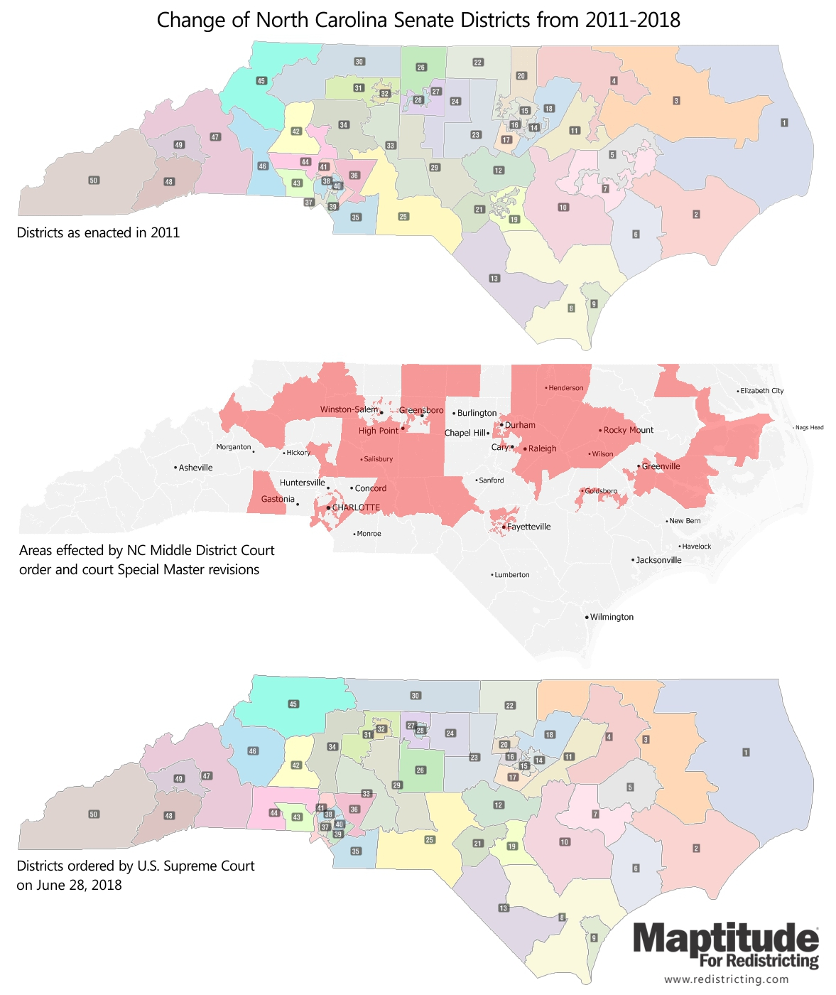 Maptitude for Redistricting map infographic of North Carolina Senate District Changes