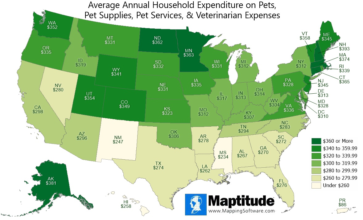 Maptitude mapping software infographic of average annual household pet expenditures by state