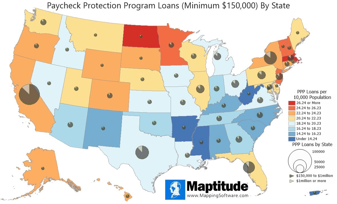 Maptitude mapping software map infographic of PPP Covid-19 loans by state