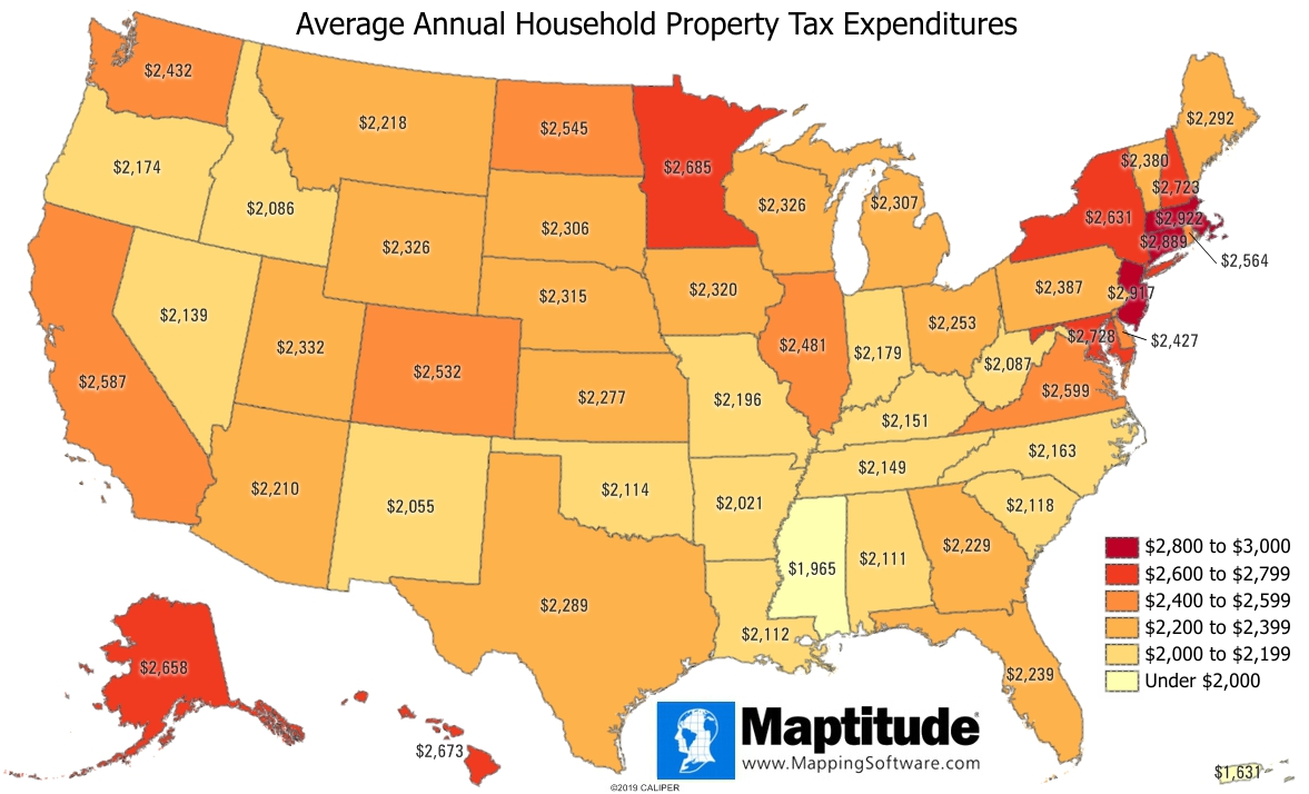 Maptitude mapping software infographic of average annual household property tax expenditures by state