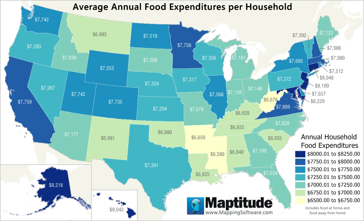 Maptitude mapping software map infographic of household food expenditure by state